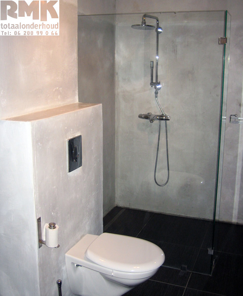 Foto 39 s gerealiseerde projecten door rmk totaalonderhoud leemstuc flevoland - Badkamer wc ...